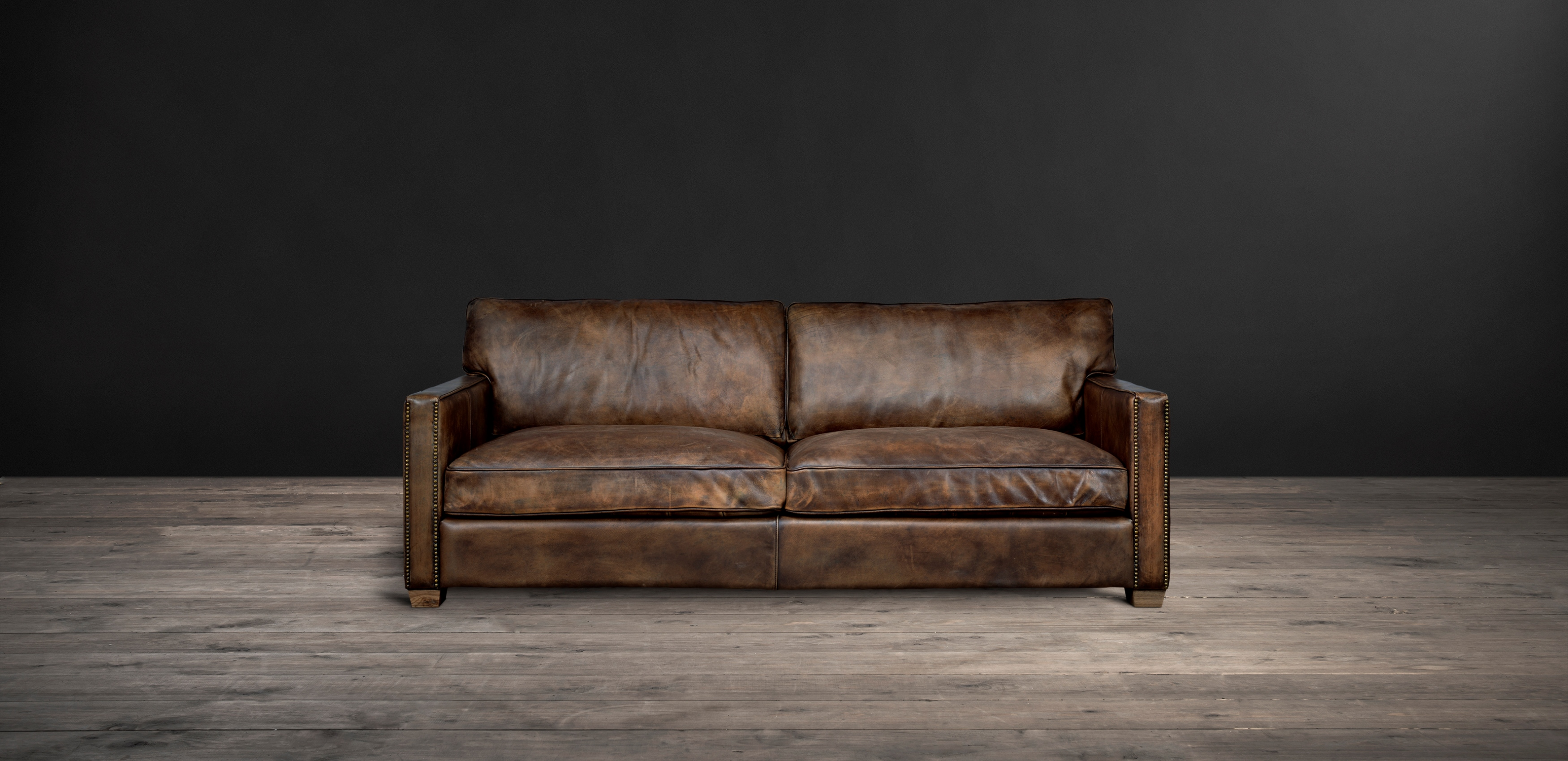 Timothy Oulton Classic Leather Sofa - Viscount William Leather Sofa from front