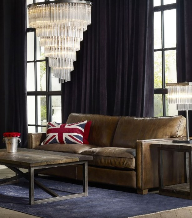 Timothy Oulton Classic Leather Sofa - Viscount William Sofa in Vagabond leather living interior design