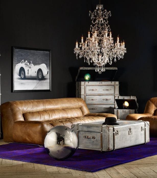 Timothy Oulton Crystal Chandelier - Living Room Interior Design