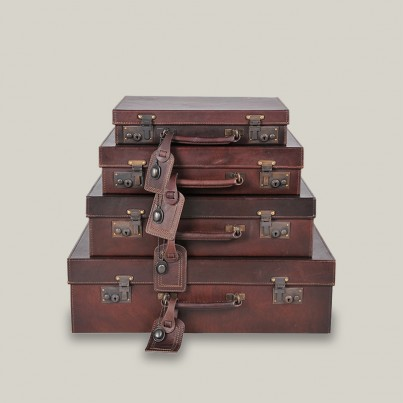 Drake Leather Suitcases - Old Saddle Nut