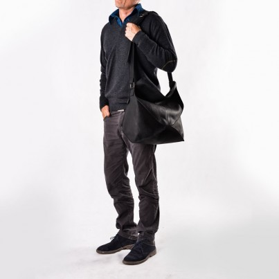 Messenger bag - Aquapelle Ebony leather