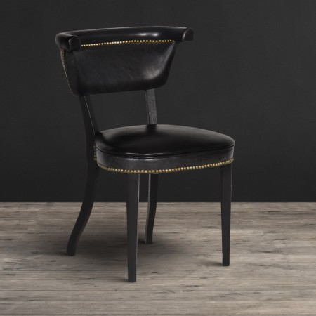 Dining Chair - Old Saddle Black leather