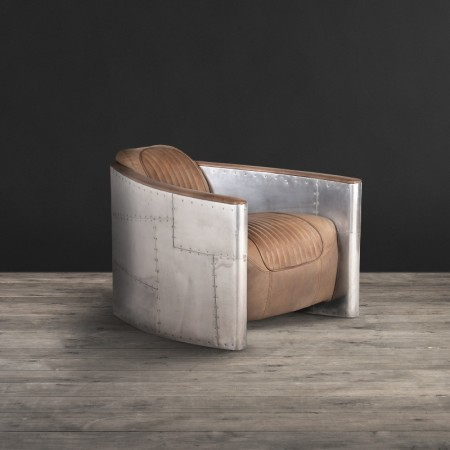 Armchair in Destroyed Raw Leather & Spitfire