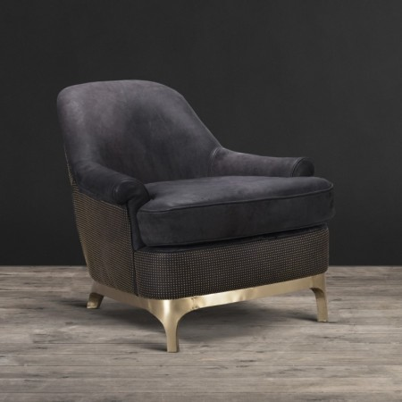 Bastille Armchair shown in Pixel Black leather