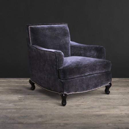 Cannes armchair shown in Graphite Vintage Moleskin