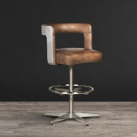 Circus Barstool shown in Destroyed Raw leather