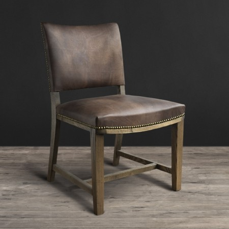 Arm dining chair - Destroyed Raw leather & Weathered Oak