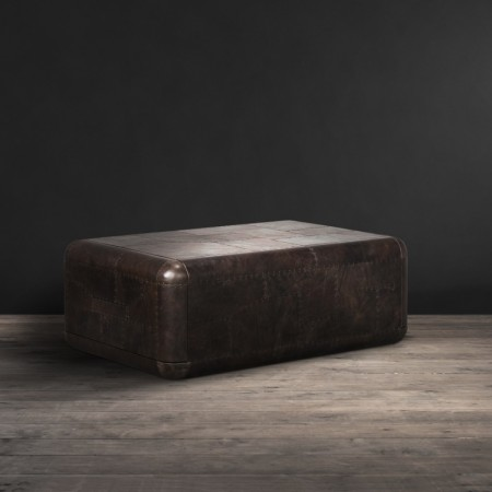 Hudson coffee table shown in Black Fury leather
