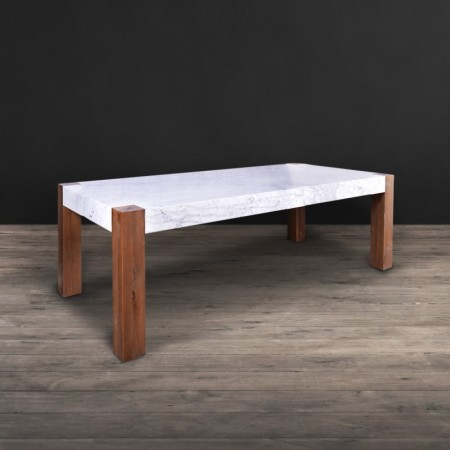 Dining Table - White Honed Marble & Weathered Oak