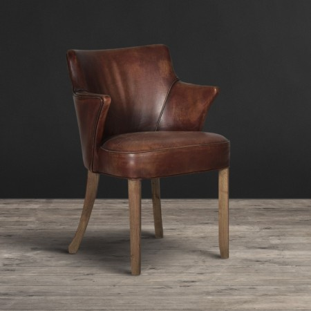 Dining Chair - Vagabond Red leather & Weathered Oak