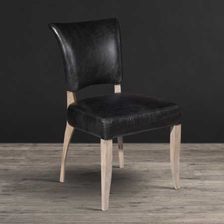 Dining Chair - Old Saddle Black leather with Weathered Oak