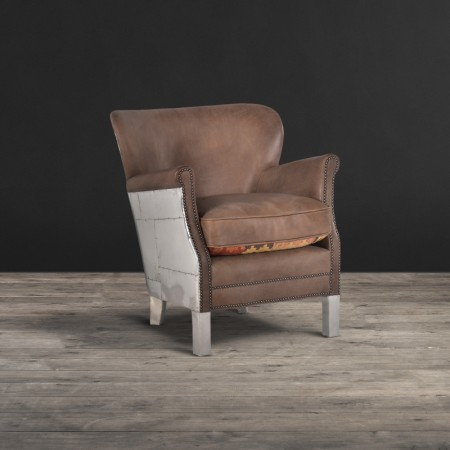 Armchair shown in Destroyed leather Raw&Spitfire