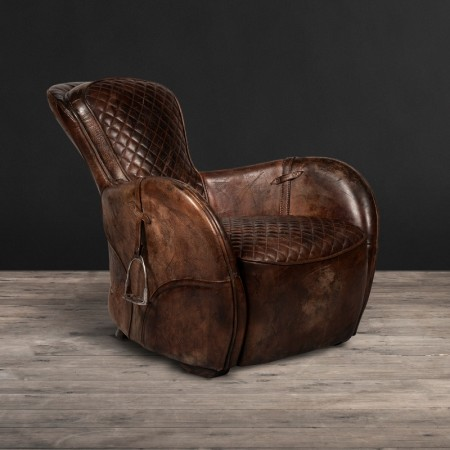 Saddle Chair Buck'dn Brok'n shown in Buck'dN Brok'n leather