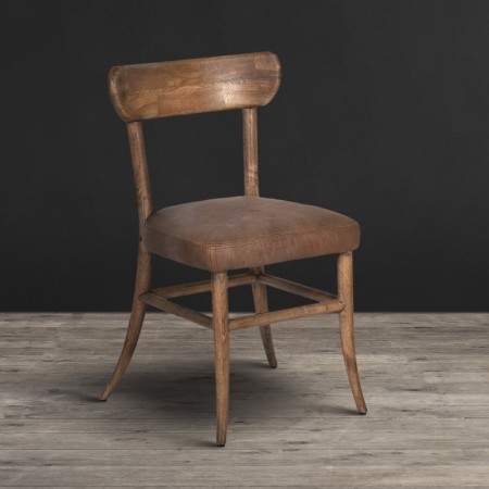 Dining Chair - Destroyed Raw leather & Weathered Oak