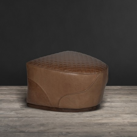 Saddle footstool in leather
