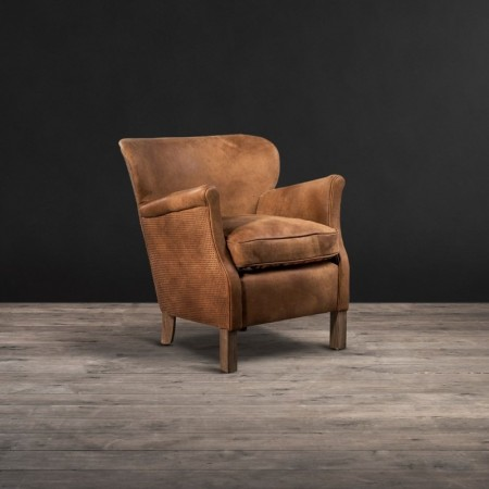 Stud Professor armchair shown in Pixel Brown leather