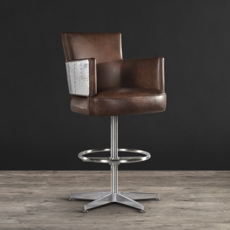 Swinderby Barstool  shown in Destroyed Raw Leather & Spitfire