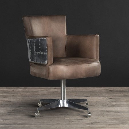 Office chair in Destroyed Raw leather & Spitfire
