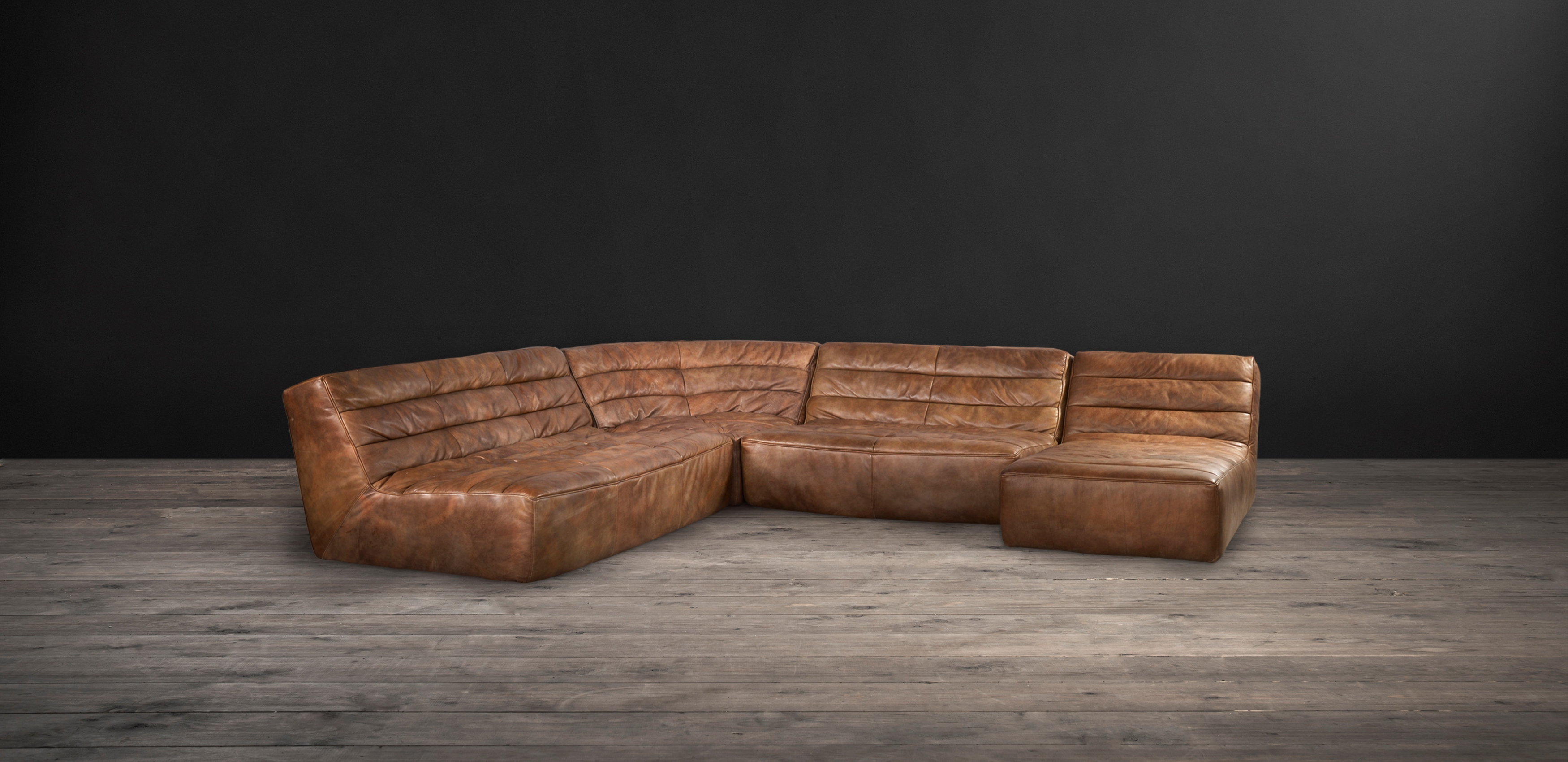 Timothy Oulton Shabby Sectional Sofa - Savage leather from front