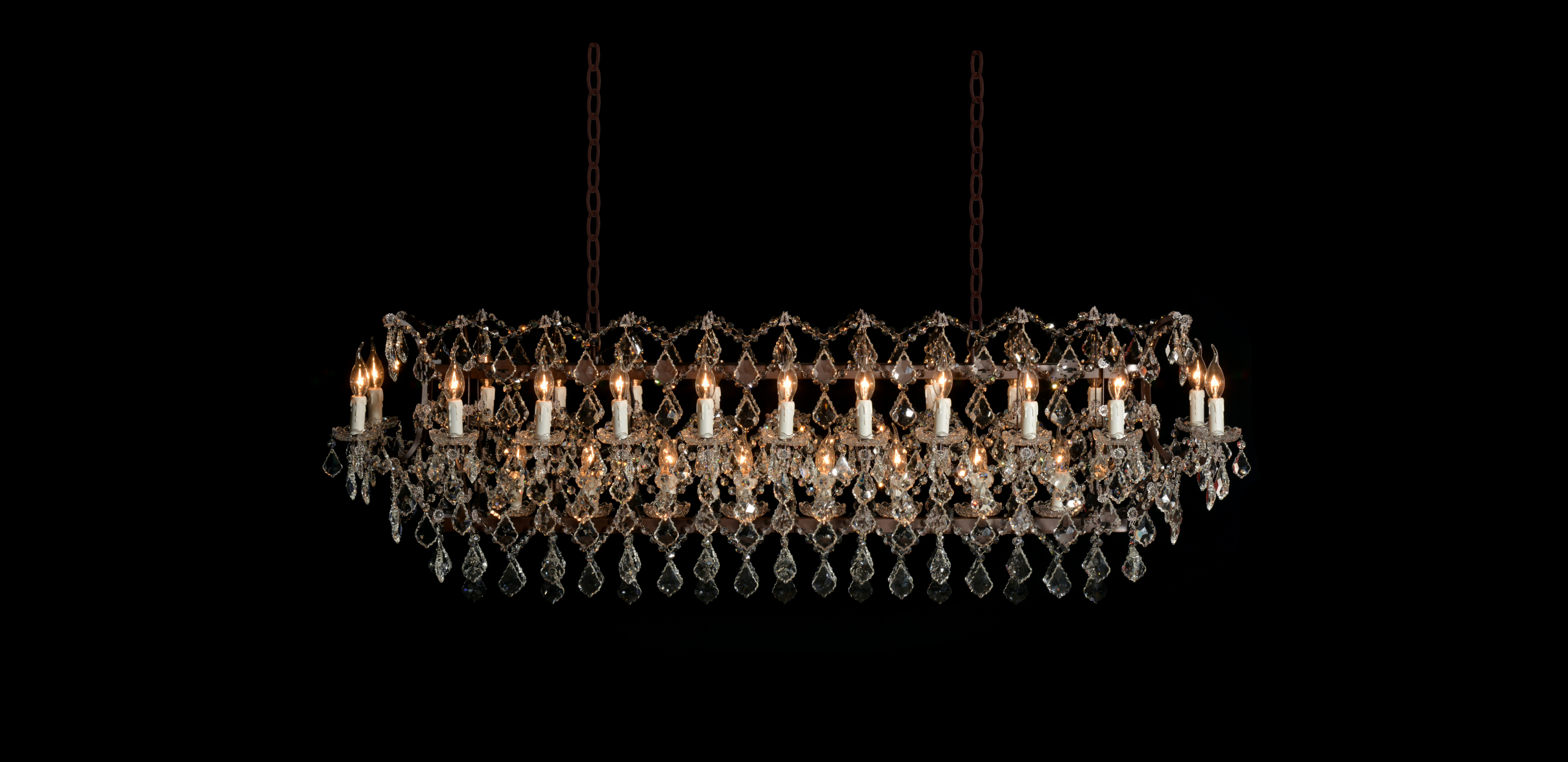 Timothy Oulton Crystal Chandelier - Rectangular Chandelier in Natural