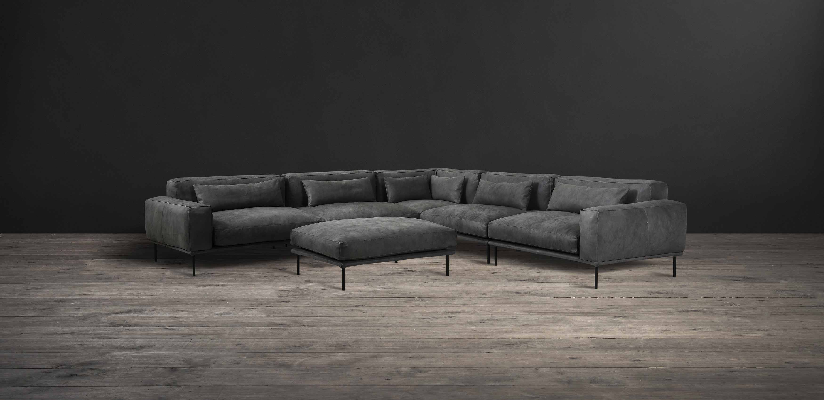 Leather & Fabric Sectional Sofa - Studio | Timothy Oulton