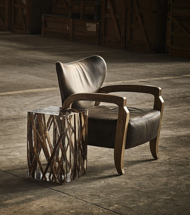Timothy Oulton armchair in black leather - Achilles