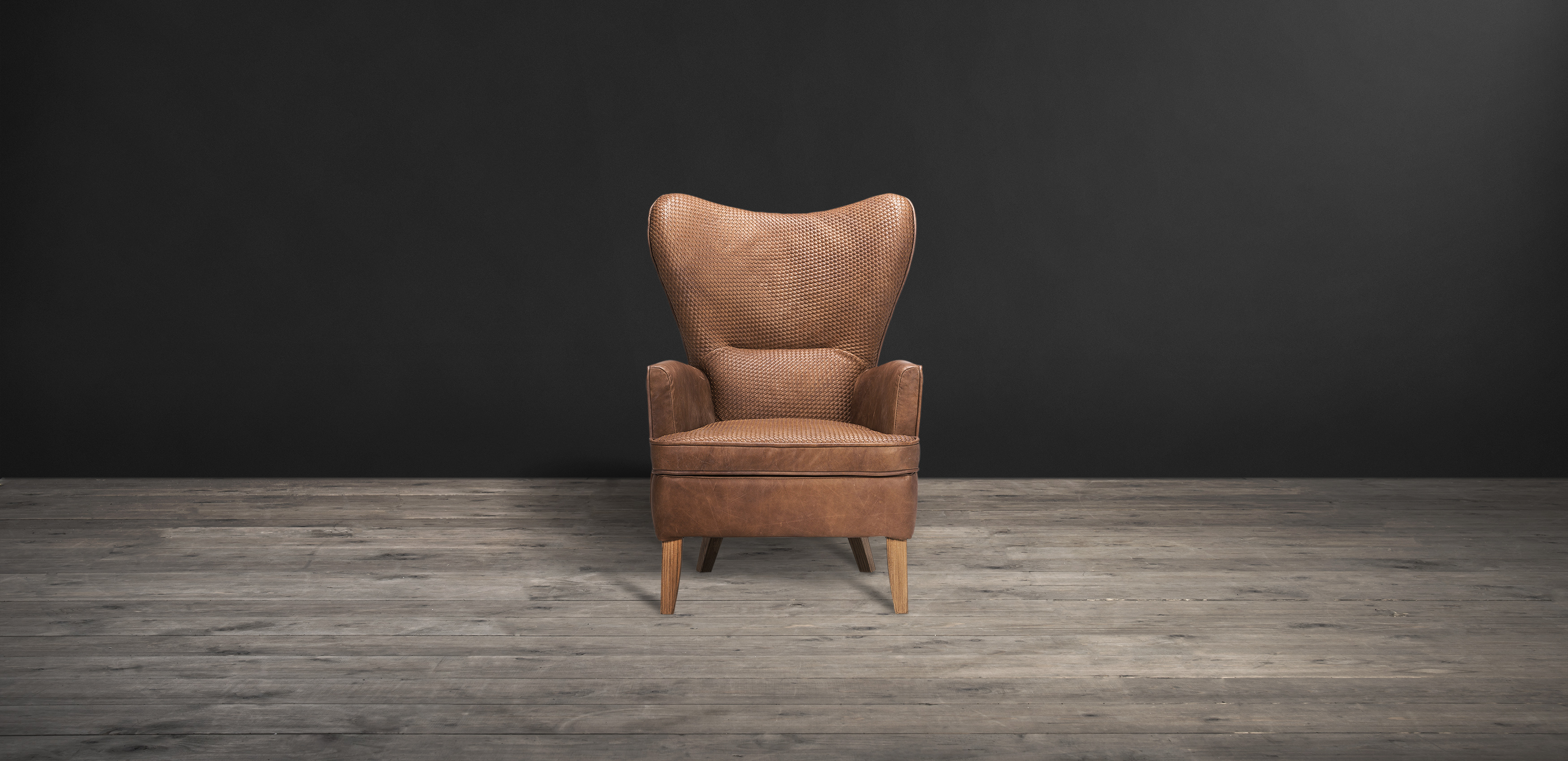 Timothy Oulton armchair in brown leather - Mentor