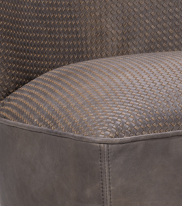 Timothy Oulton armchair in grey leather - Weave