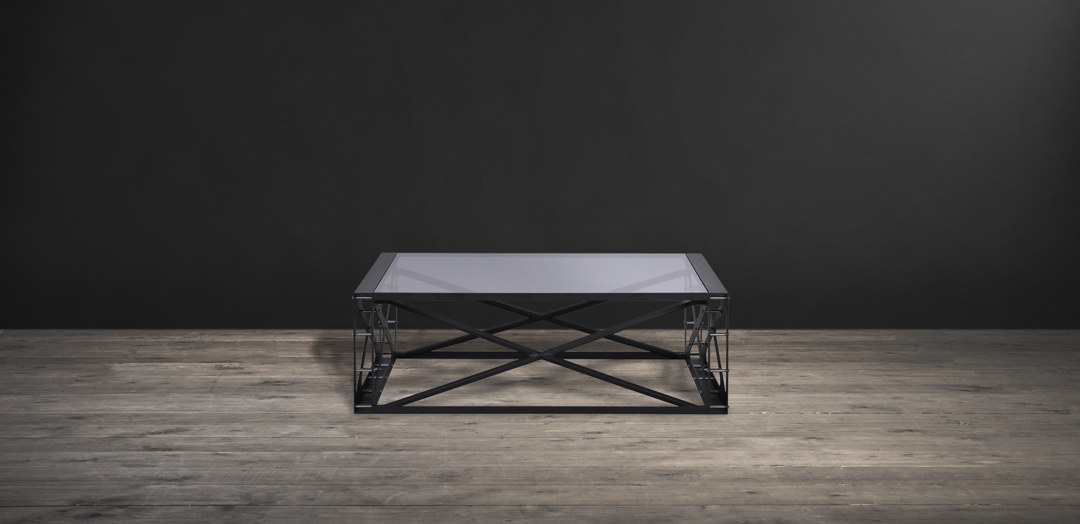 Timothy Oulton coffee table in matt black metal and smoky glass - Spectrum