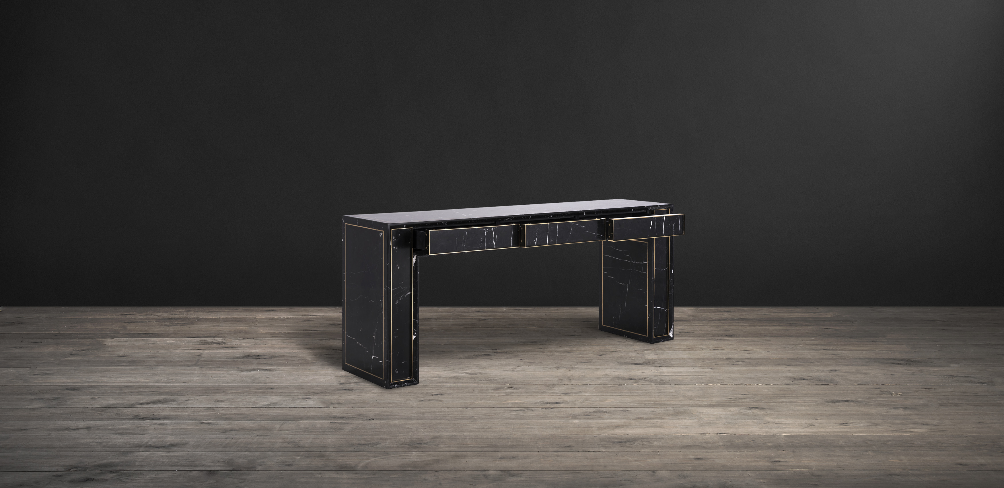 Timothy Oulton console in black marble - Colosseum
