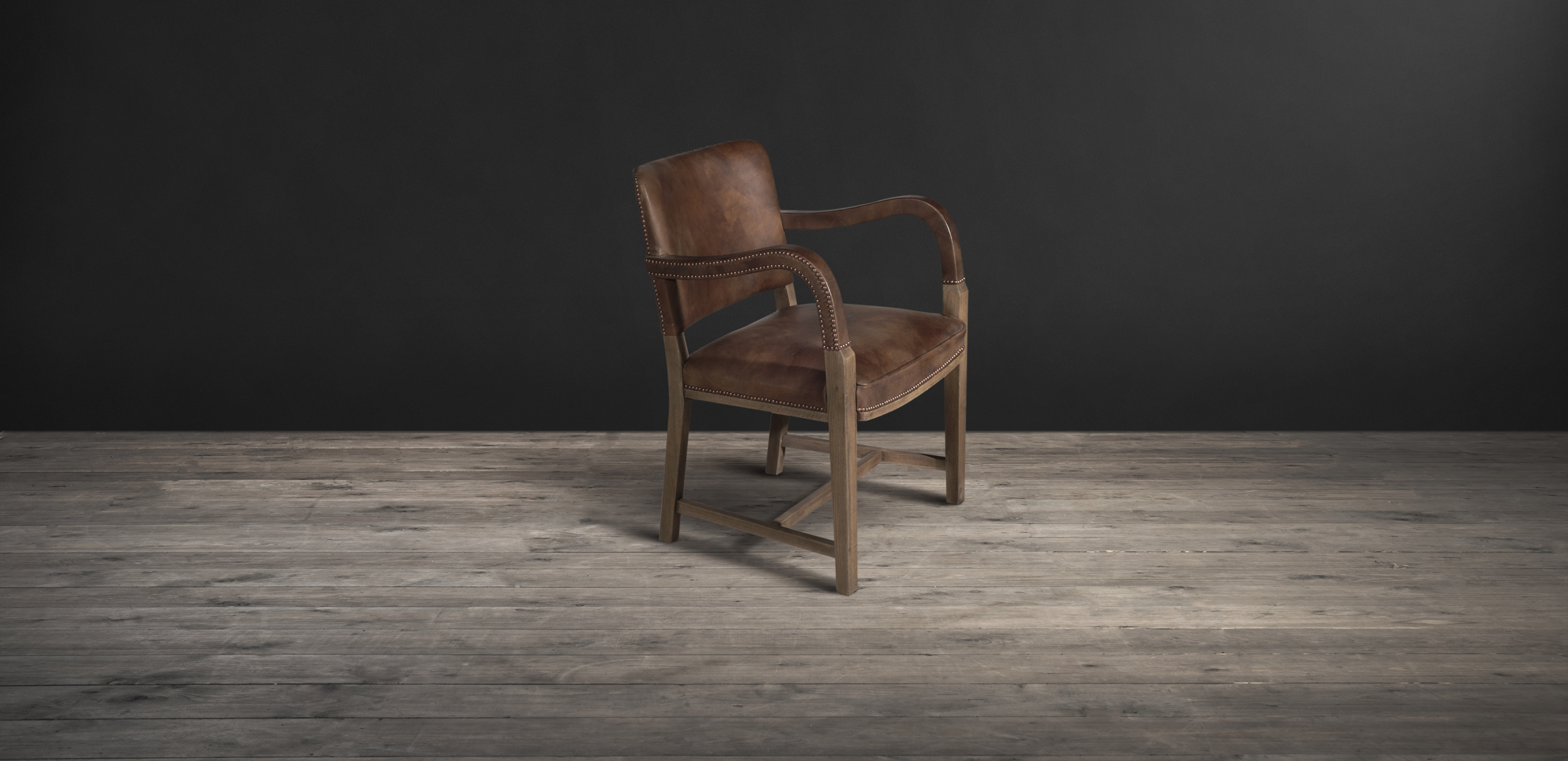 Timothy Oulton dining chair in brown leather - Cliveden with Arms