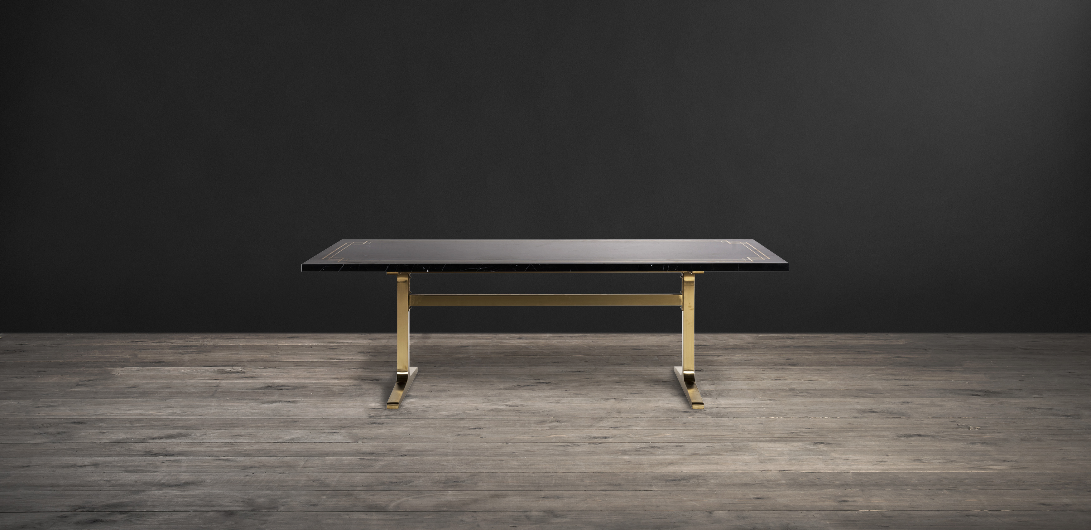 Timothy Oulton dining table in black marble and brass - Titus