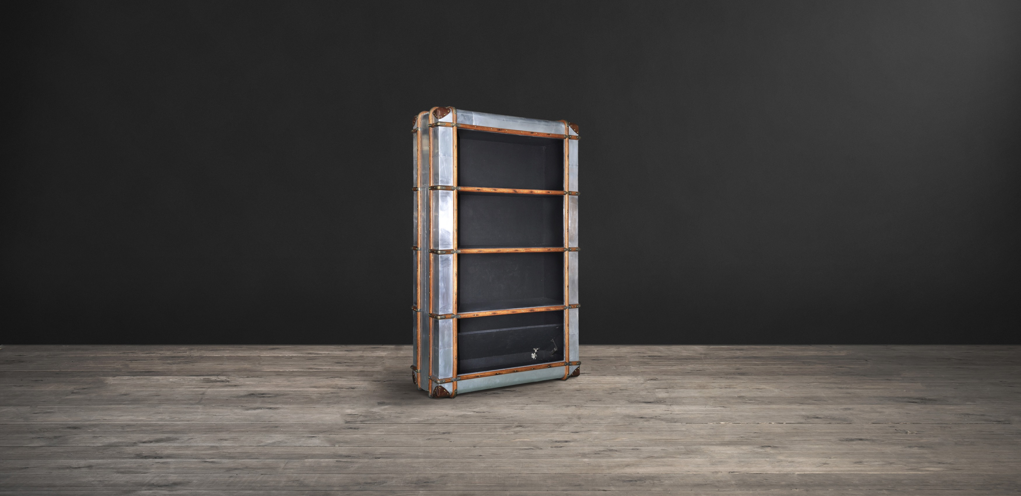 Timothy Oulton bookcase in distressed metal - Globetrekker Aero