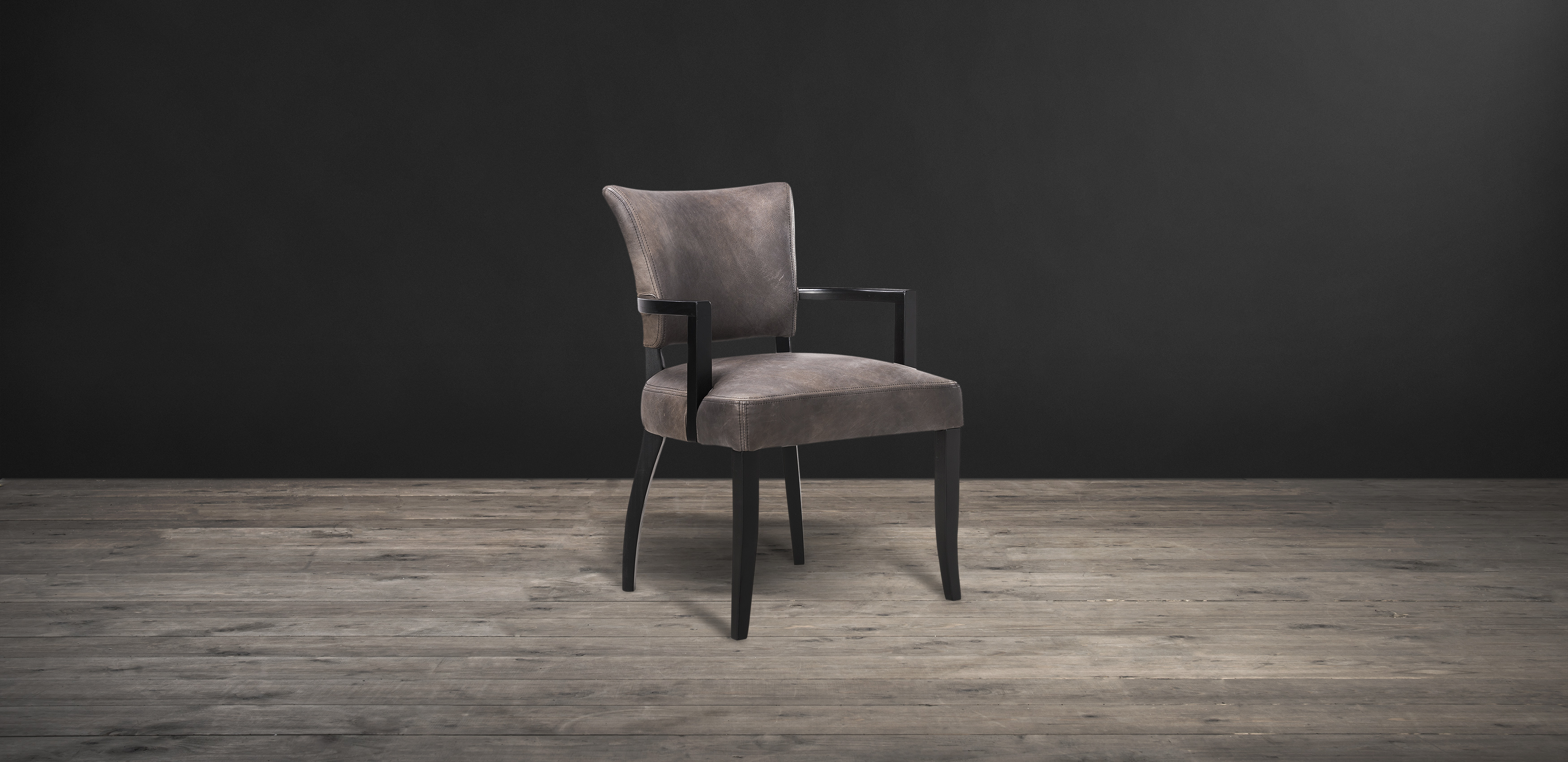 Timothy Oulton dining chair with arm in faded and degraded velvet - Mimi