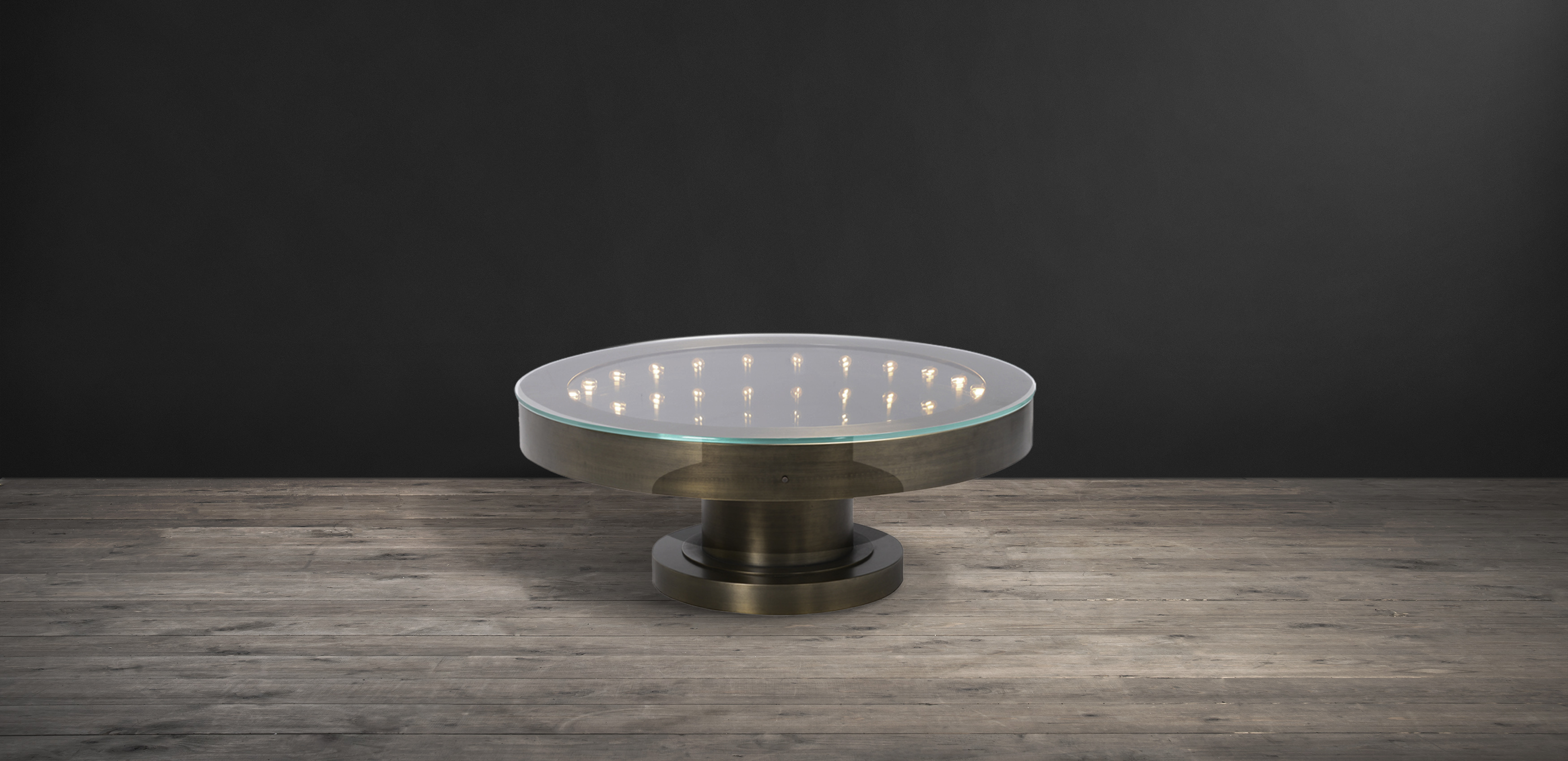 Timothy Oulton round coffee table in brass - Inception