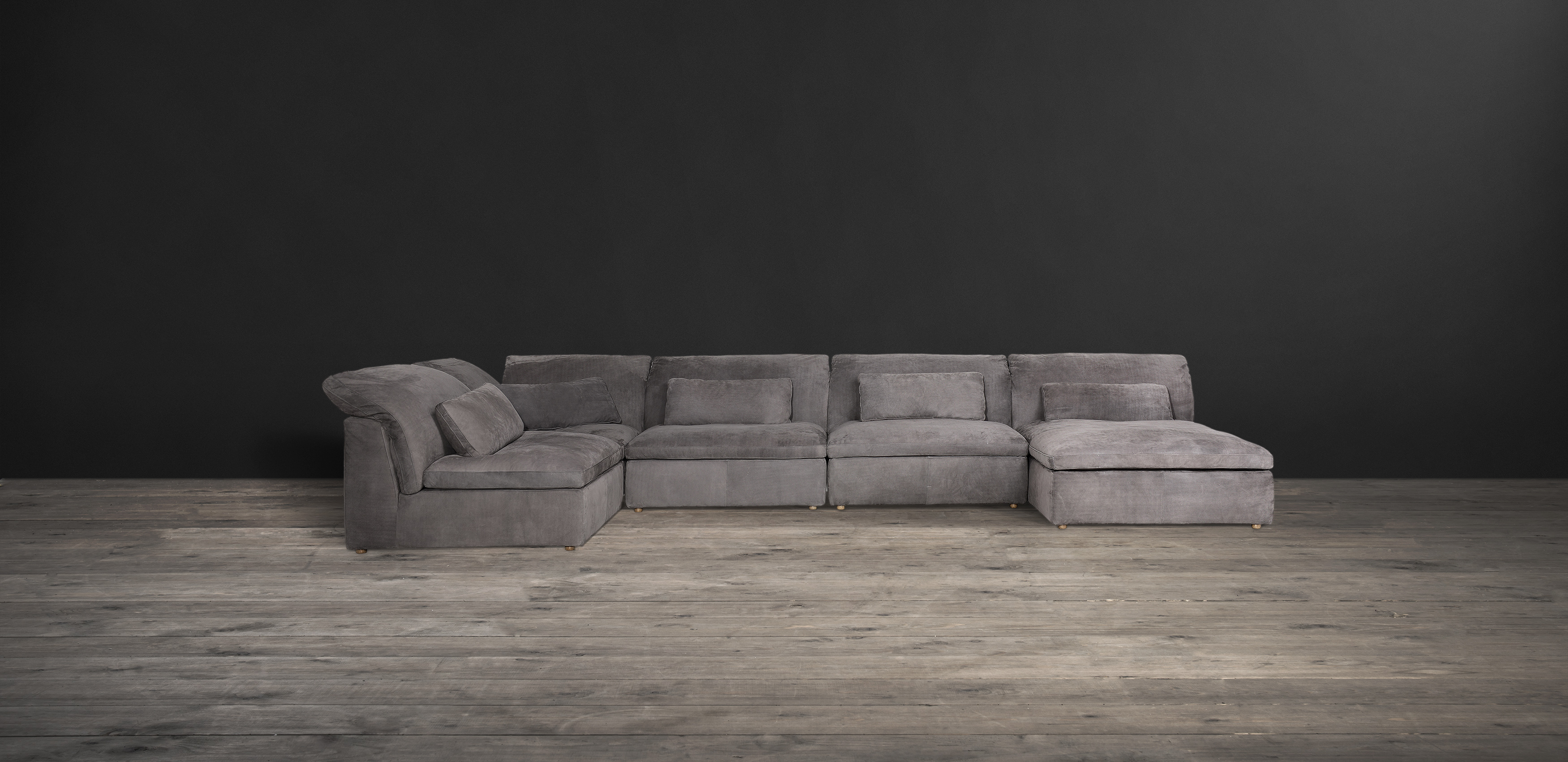 Timothy Oulton sectional sofa in grey leather - Pillow