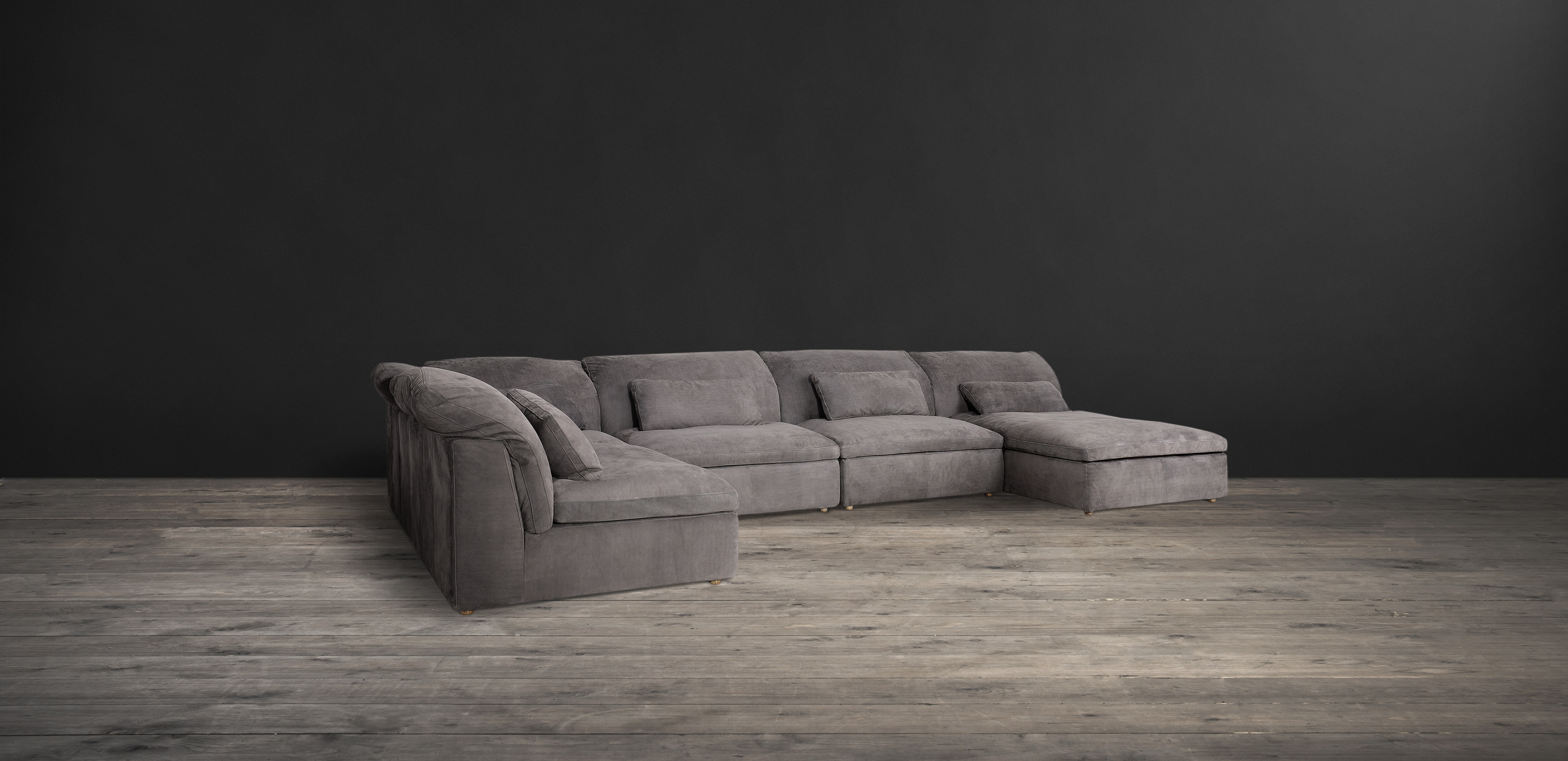 Timothy Oulton Sectional Sofa In Grey Leather   Pillow