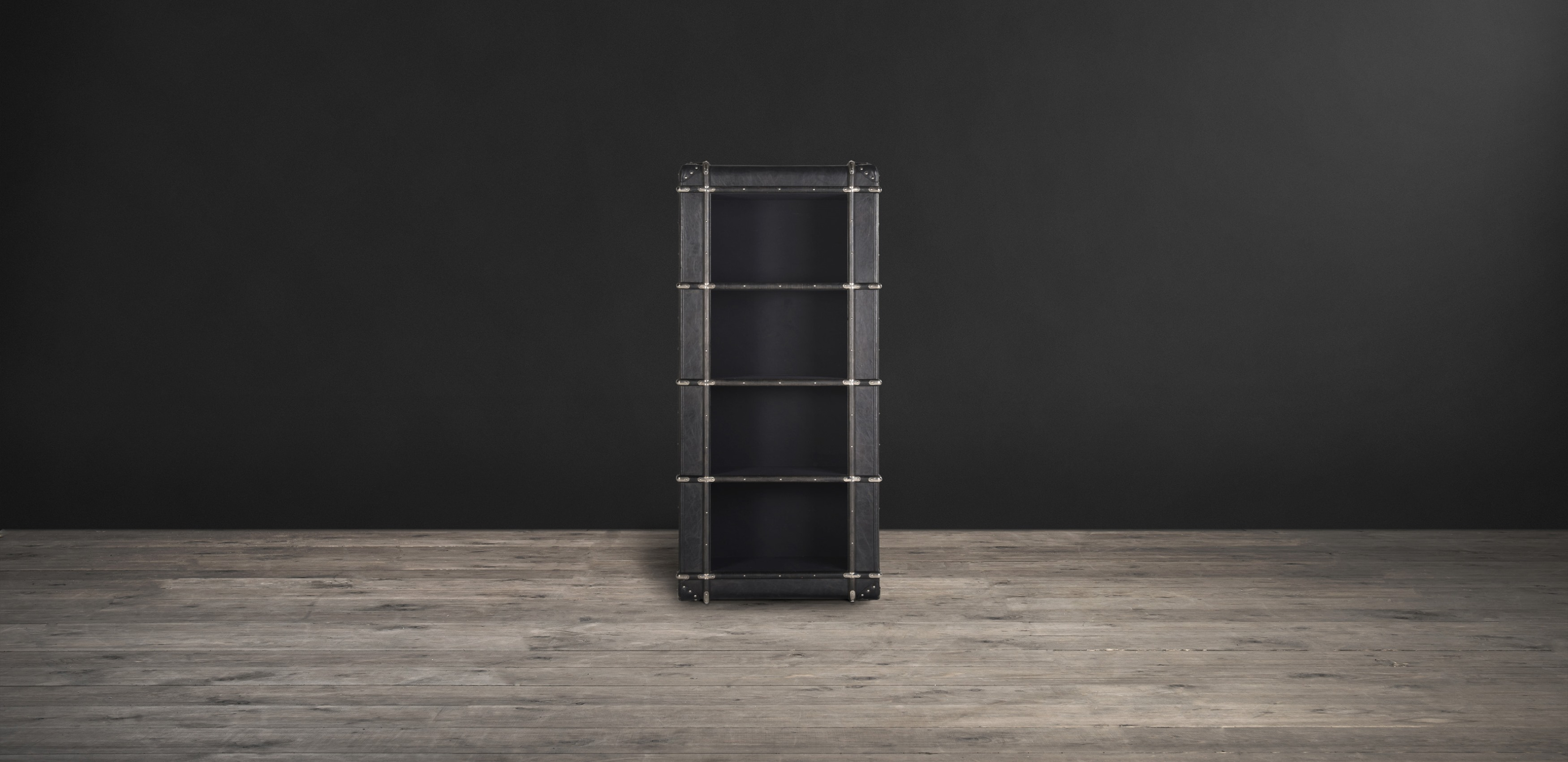 Timothy Oulton bookcase in black leather - Globetrekker Orbit