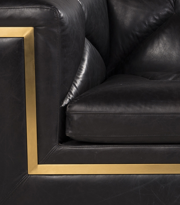 Timothy Oulton 3 seater sofa in black leather - Gatsby