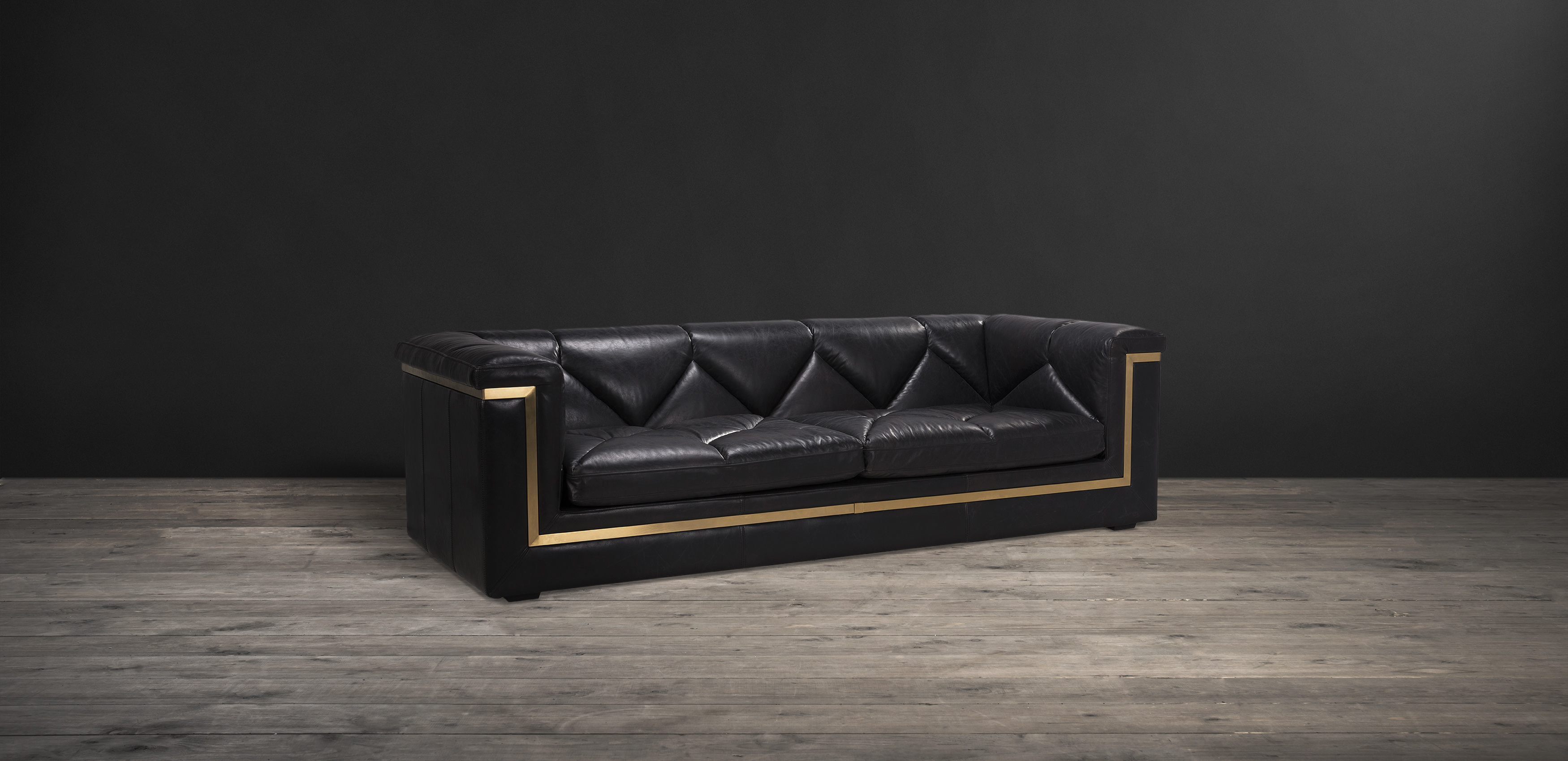 Timothy Oulton 3 Seater Sofa In Black Leather   Gatsby