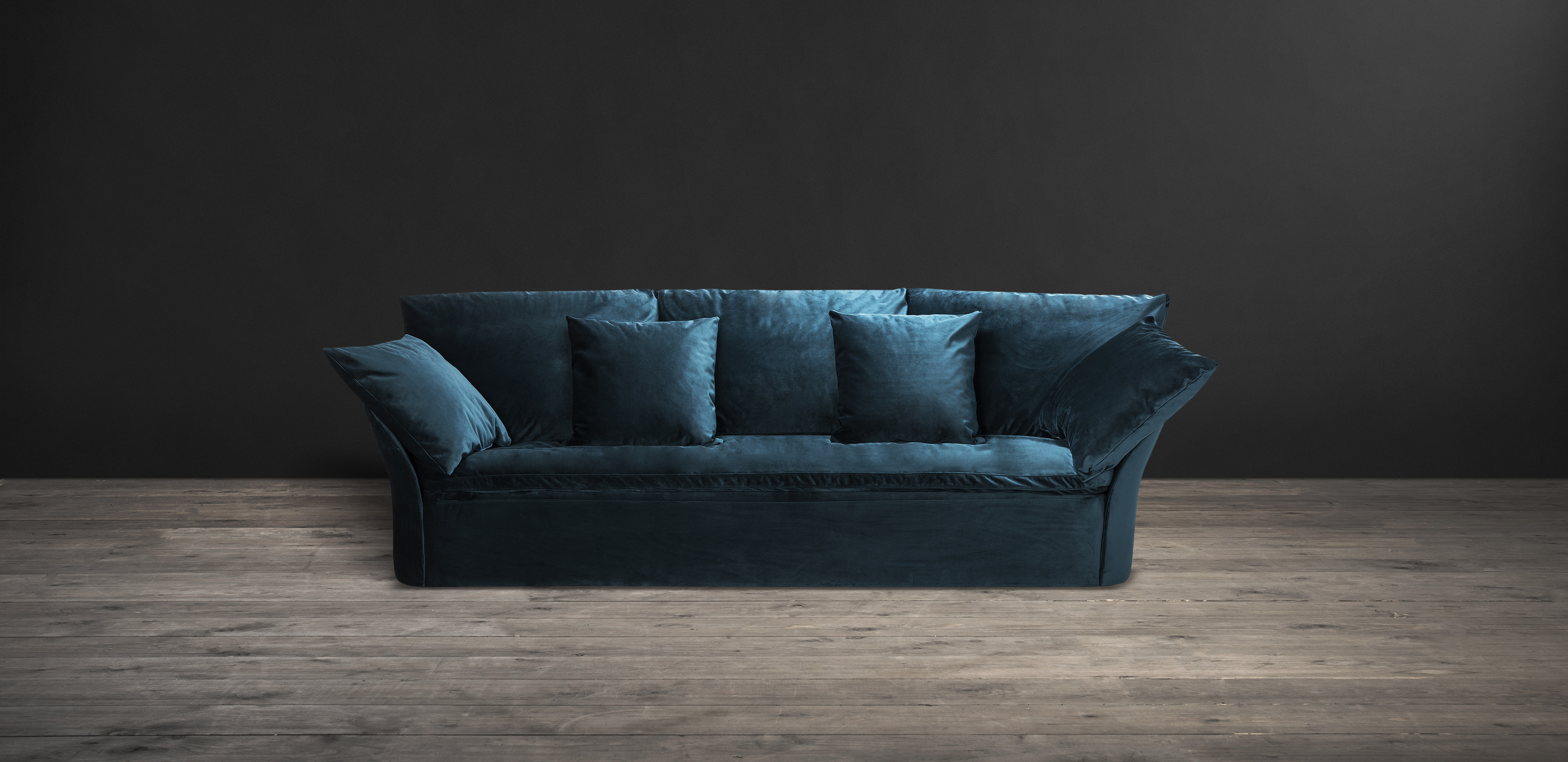 Timothy Oulton 4 seater sofa in teal velvet - Den