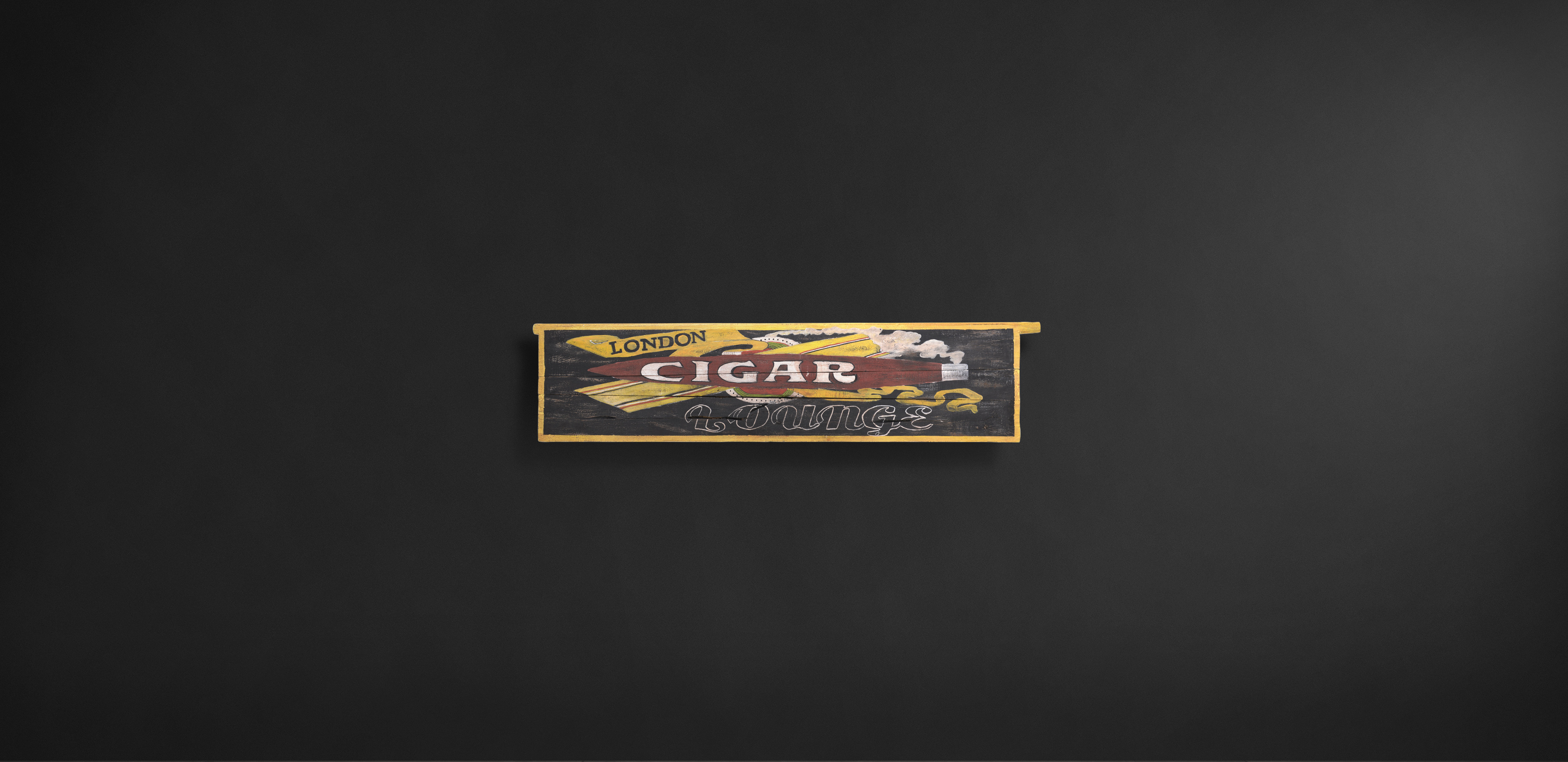 Timothy Oulton wooden sign wall art - Cigar Lounge