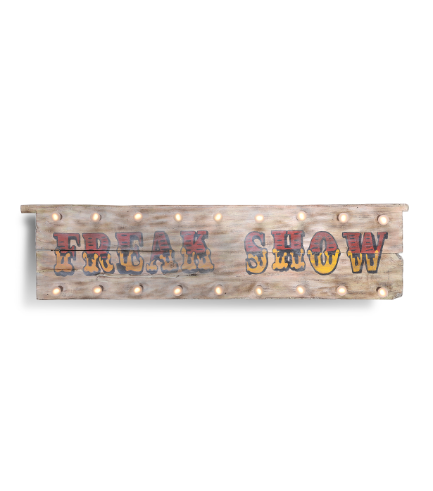 Timothy Oulton woodedn sign wall art - Freak Show