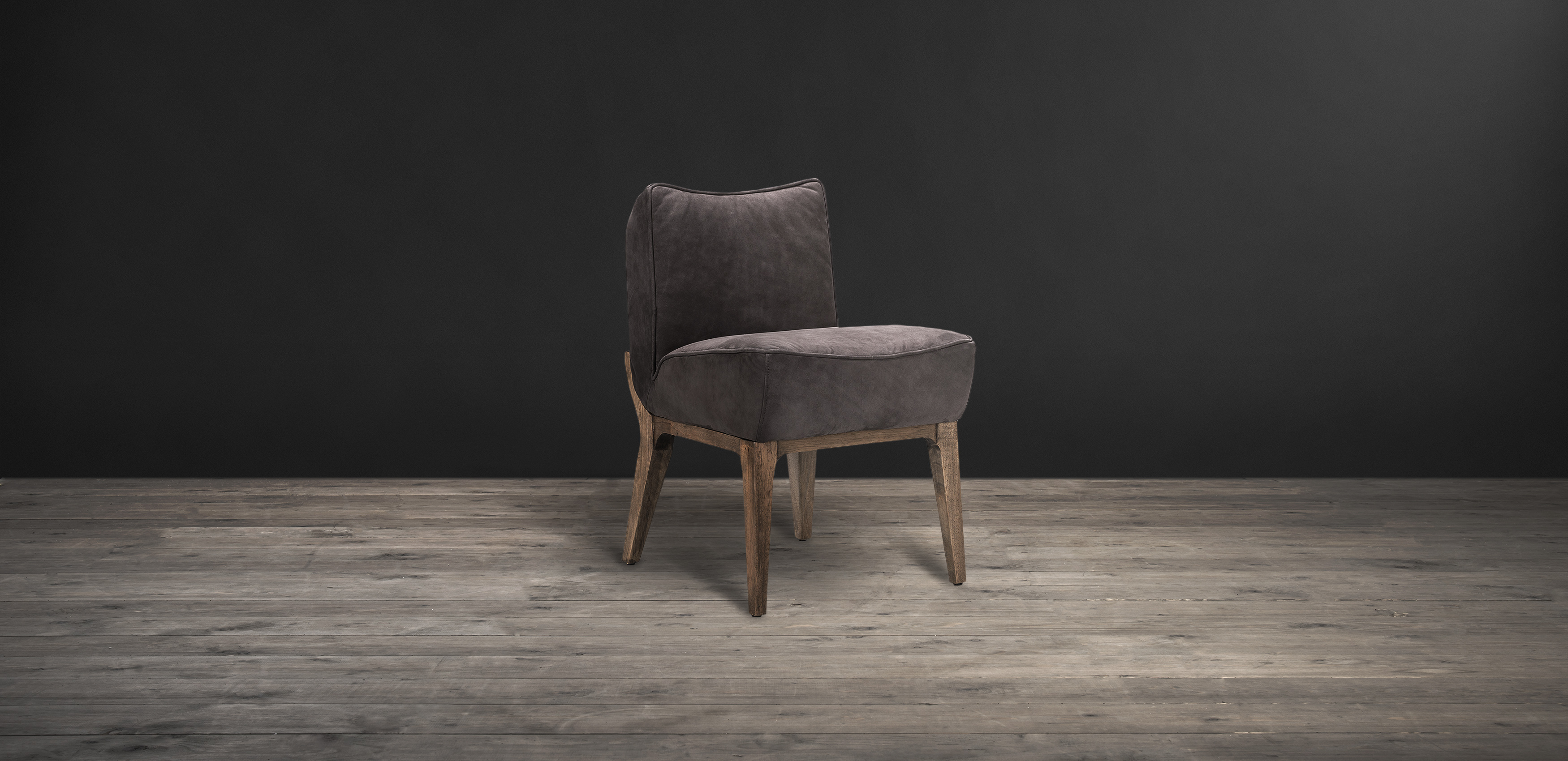 Timothy Oulton dining chair in grey leather - Creek
