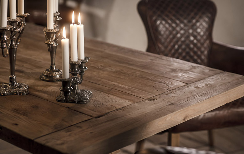 Reclaimed wooden dining table | Timothy Oulton